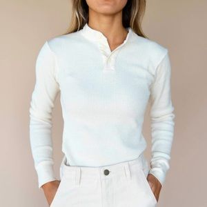Free People Creme 3 Button Knit Henley Shirt